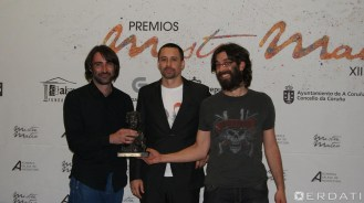 """David Machado, Dani Zacarías e Enric Triviño, premiados ao mellor son por """"Salgadura""""."""